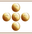 Golden coins with numerals - part 2 vector image