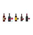 wine bottle glass icon set flat style vector image