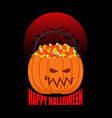 pumpkin basket for halloween trick or treat corn vector image
