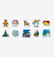 winter christmas holidays icons stickers set vector image vector image