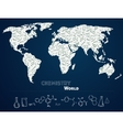 World map with chemistry background vector image vector image