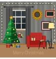 Living room with Christmas tree vector image