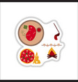 Set of paper stickers on white junk food vector image