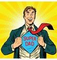 Super dad hero with a joyful smile vector image