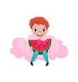cute little boy sitting on a pink cloud and eating vector image