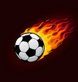 fire flying football ball for soccer poster vector image