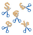scissors cutting symbols of currencies on vector image