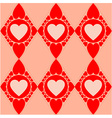 Valentines diamond pattern with red hearts vector image