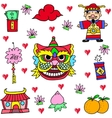 Chinese New Year doodles vector image