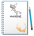 A notebook with a sketch of a person snorkling vector image