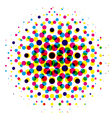 color dot with cmyk halftone pattern vector image