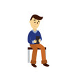 adult man reads the book sitting on bench vector image
