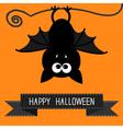 Cute bat and black ribbon Happy Halloween card vector image
