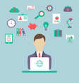 designer work place work elements flat style vector image vector image