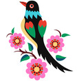 stylish oriental flower bird vector image vector image