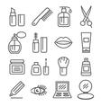 Cosmetics line icons vector image
