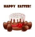 card Easter cake and chokolate eggs vector image