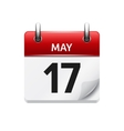 May 17 flat daily calendar icon Date and vector image