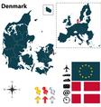Denmark and European Union map vector image