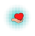 Red heart in hand icon comics style vector image