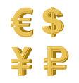 Set of golden symbols money Russian ruble Euro vector image