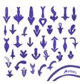 set of handwritten blue arrow vector image