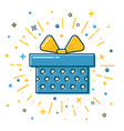 shining gift box icon with dots in flat style vector image
