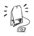 Tea bag hand drawn Line icon vector image