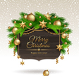 Wooden banner with Christmas golden decoration vector image