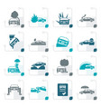 stylized car and transportation insurance and risk vector image vector image