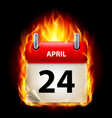 Twenty-fourth april in calendar burning icon on vector image