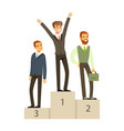 businesspeople standing on a podium business vector image