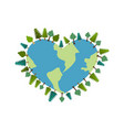 earth heart i love planet trees on ground forest vector image