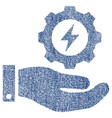 electricity gear service hand fabric textured icon vector image