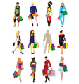 Many girls with shopping vector image