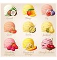 Set of cartoon icons Coconut mango fig vector image