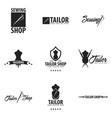 tailor sewing handmade logo or emblem vector image