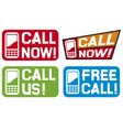 Call now label- Call us label - Free call label vector image vector image