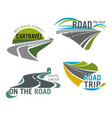 road travel company icons set tourism trip vector image
