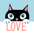 Portrait of a cat with the word love vector image