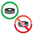 Disc permission signs set vector image vector image