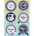 Set of dark blue round badges for tailor shops vector image