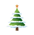 Decorated christmas tree pine with snow star vector image