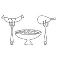 grilled meat one line drawing vector image