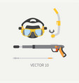 plain flat color diver underwater equipment vector image