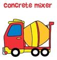 Red concrete mixer cartoon vector image