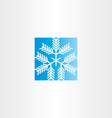 snowflake blue square icon vector image