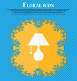 table lamp icon Floral flat design on a blue vector image