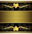 valentine background with gold heart vector image