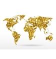 World map of gold glittering stars vector image